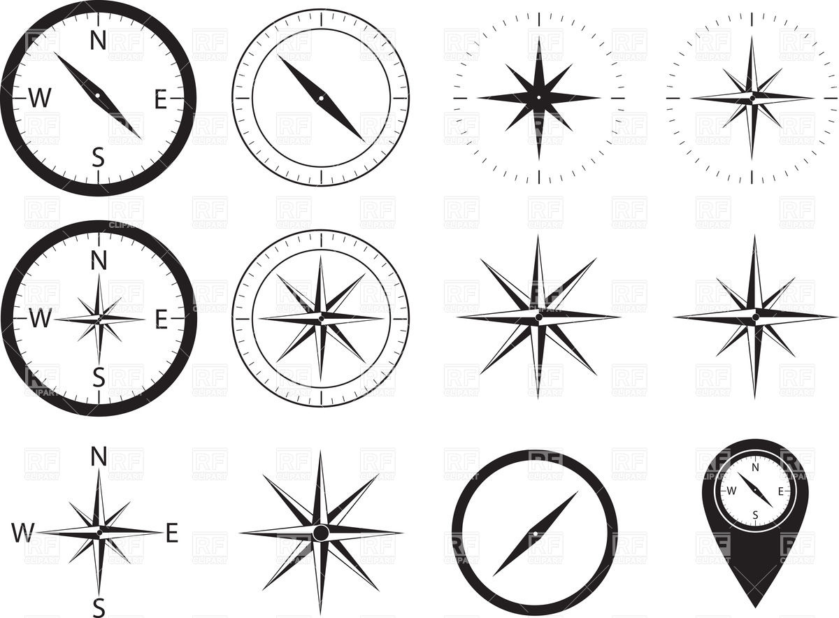 1200x884 Compass Icons Illustration Vector Image Vector Artwork Of Design