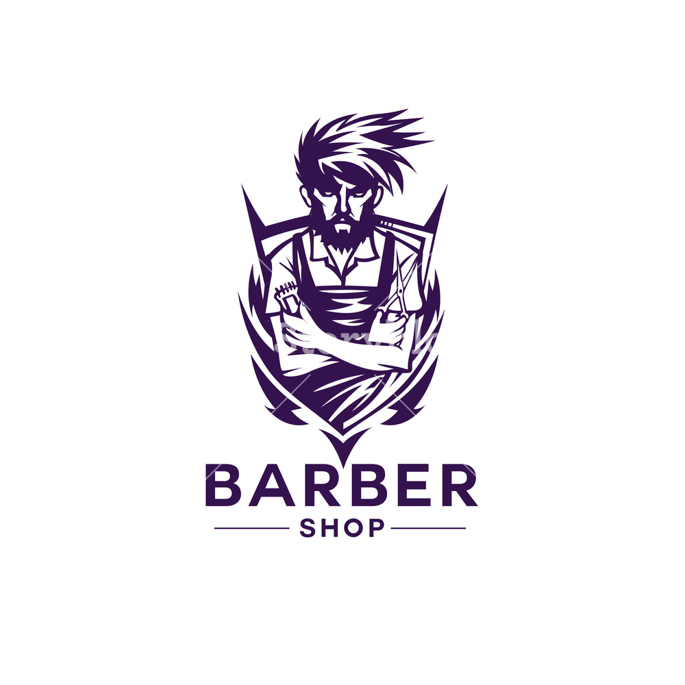 1000x1000 Barber Shop Shield Logo Vector Illustration Royalty Free Stock