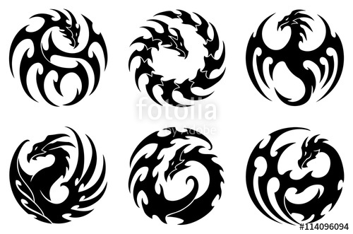 500x331 Vector Illustration, Set Of Round Tribal Dragon Tattoo Designs