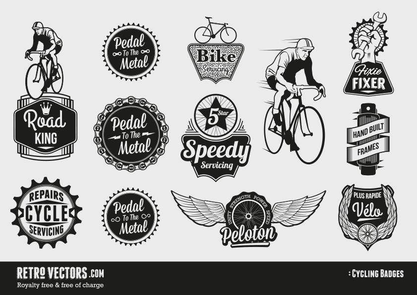 841x596 Free Retro Vector Cycling Badges Vintage Vectors Royalty Free