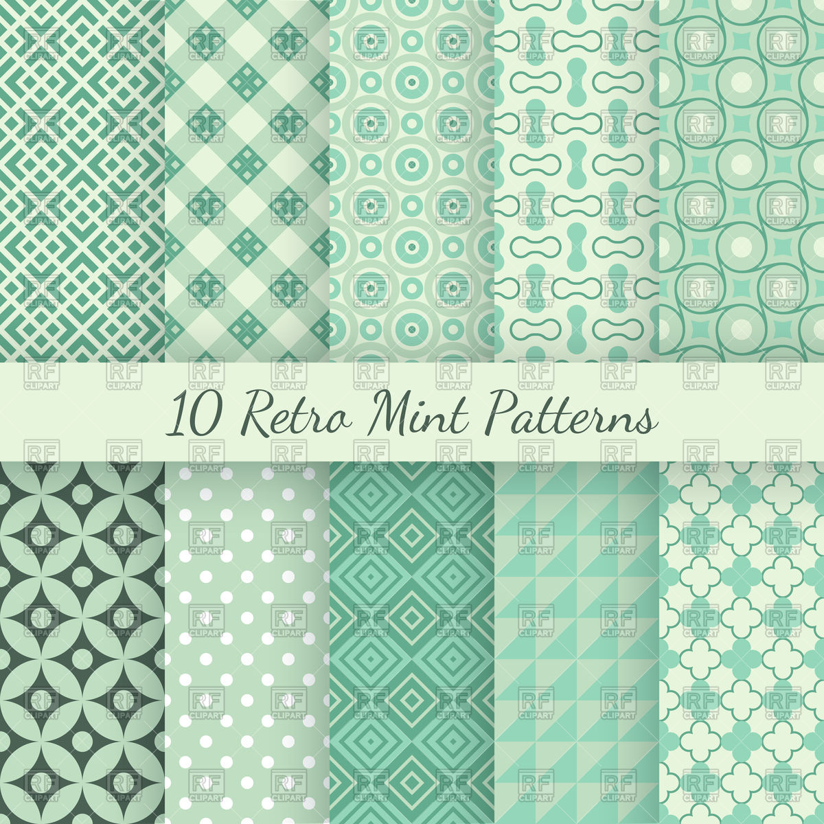 1200x1200 Retro Mint And Emerald Seamless Wallpaper Patterns Vector Image