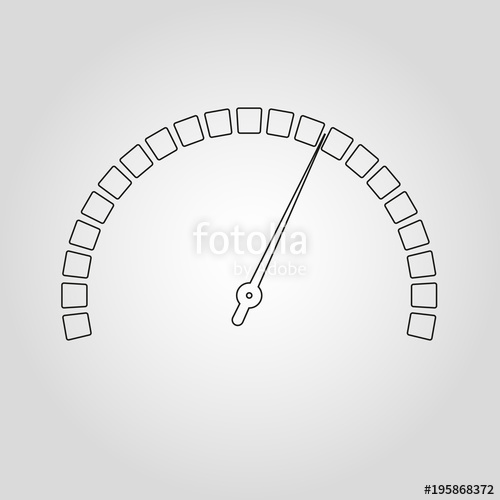 500x500 Meter And Gauge Outline Icon. Speedometer And Rpm Meter Line