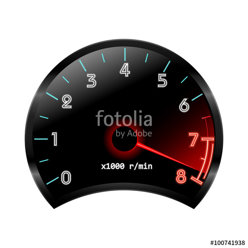 500x500 Tachometer (Revolution Counter , Rpm Gauge). Vector Illustration