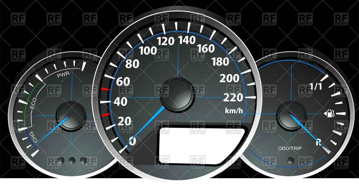 1200x619 Car Dashboard Gauges Speedometer, Rpm And Fuel Level Indicator