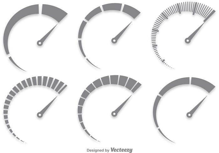 700x490 Gray Tachometer Vector Set