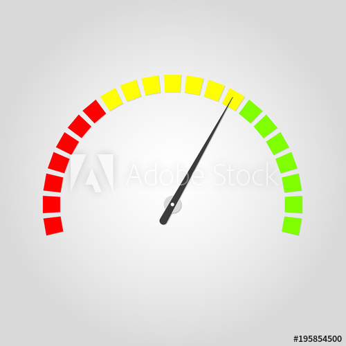 500x500 Meter And Gauge Icon. Speedometer With Red, Yellow And Green