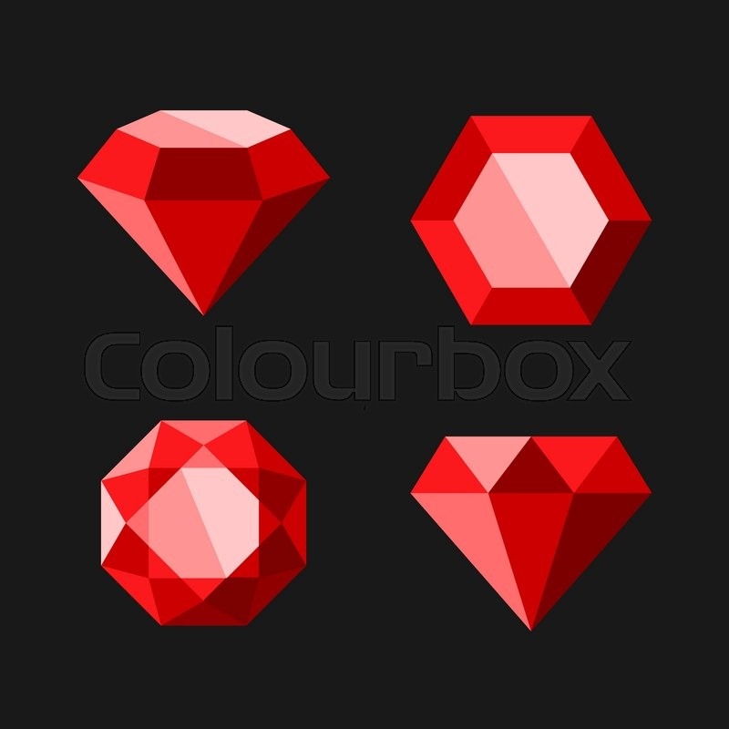 800x800 Red Diamond Or Ruby Vector Icons Set. Easy Clear Shape. Vector