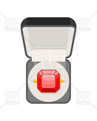 321x400 Ring With Ruby In Box Top View Vector Image Vector Artwork Of