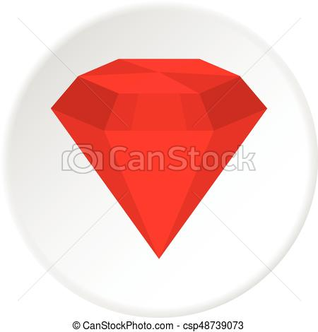 450x470 Ruby Icon Circle. Ruby Icon In Flat Circle Isolated Vector