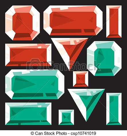 442x470 Gems Of Ruby And Emerald. Vector Illustration.