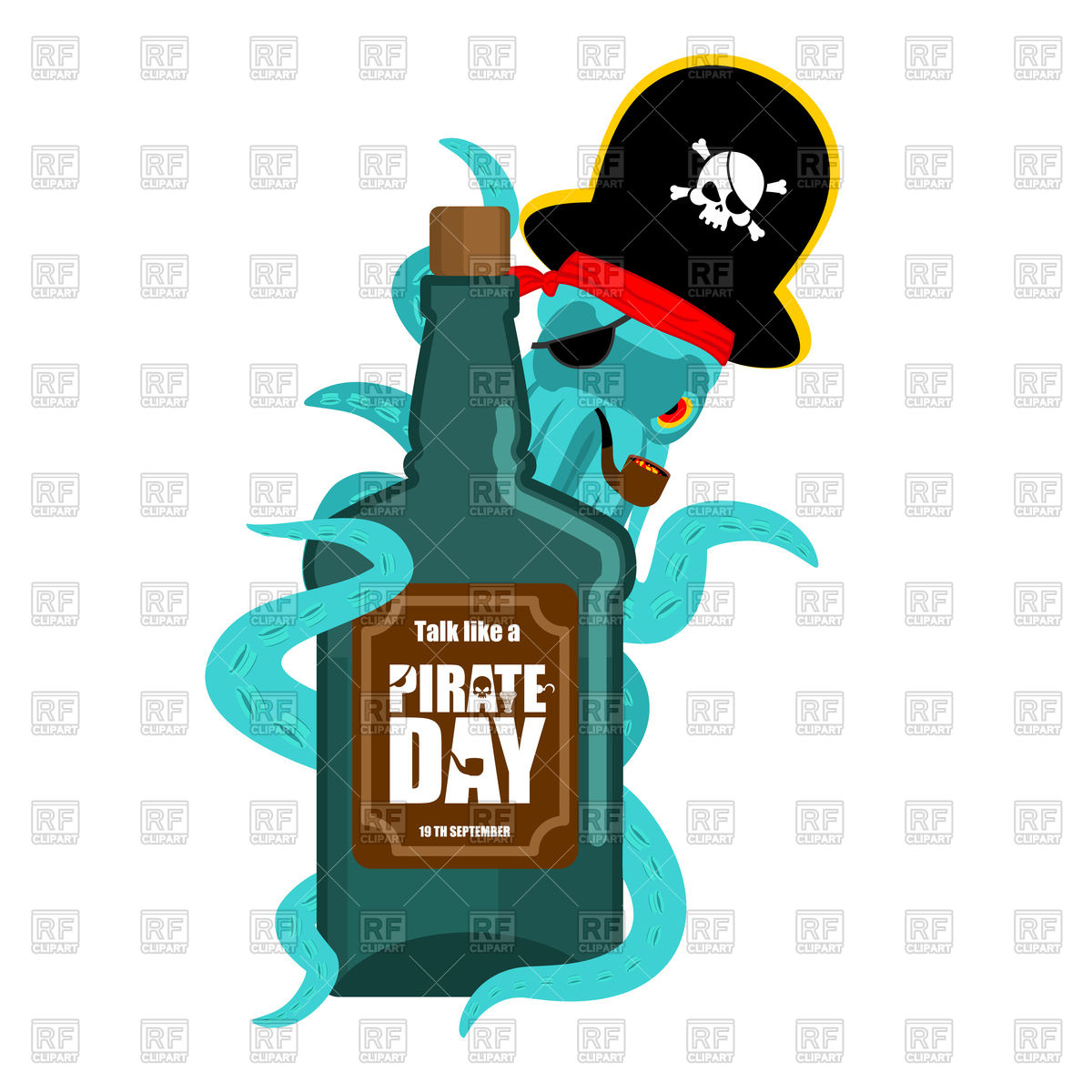 1200x1200 International Talk Like A Pirate Day. Octopus Pirate And Bottle Of