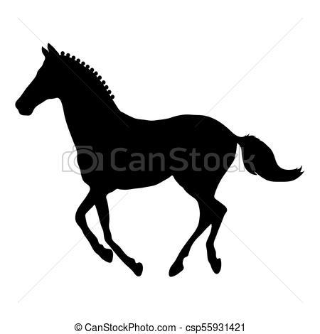 450x470 Running Horse Black Silhouette. Running Beautiful Horse... Vector