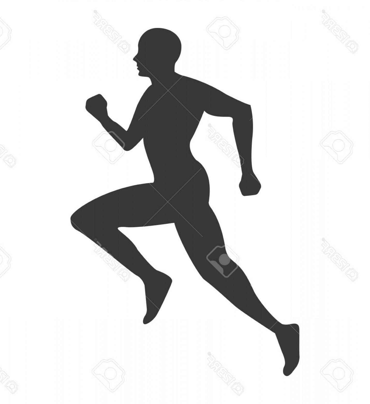 1430x1560 Photostock Vector Silhouette Athlete Running Isolated Icon Vector