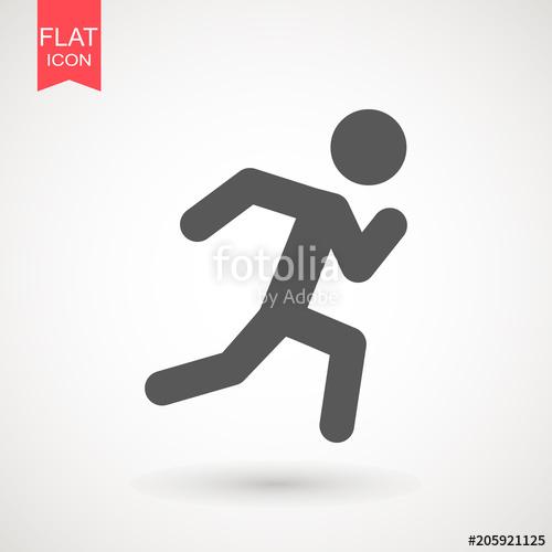 500x500 Running Man Vector Icon. Runner Stick Figure Icon. Vector