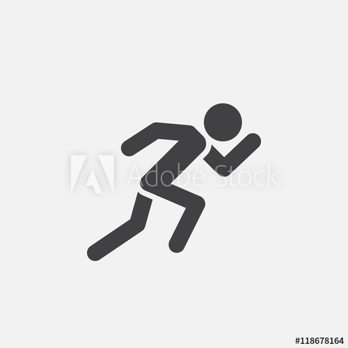 500x500 Running Icon Vector, Solid Logo Illustration, Pictogram Isolated