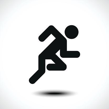 415x415 Running Man Icon Vector Art Illustration Tekening