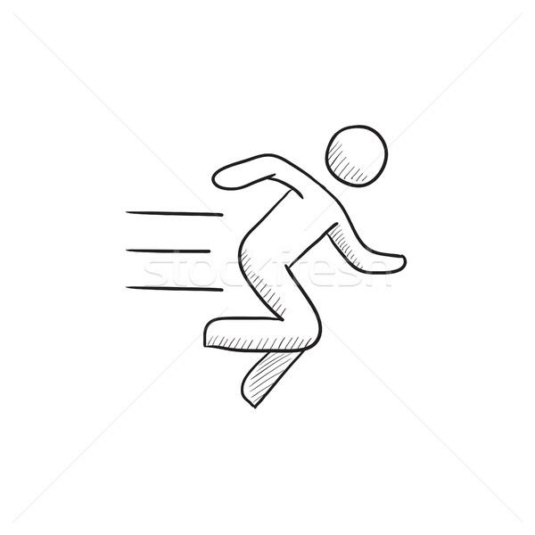 600x600 Running Man Sketch Icon. Vector Illustration Andrei Krauchuk