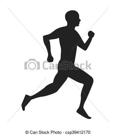 406x470 Silhouette Athlete Running Isolated Icon Vector Illustration Design.