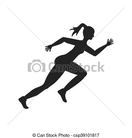 450x470 Sport Woman Running Fitness Icon. Vector Graphic. Sport Woman