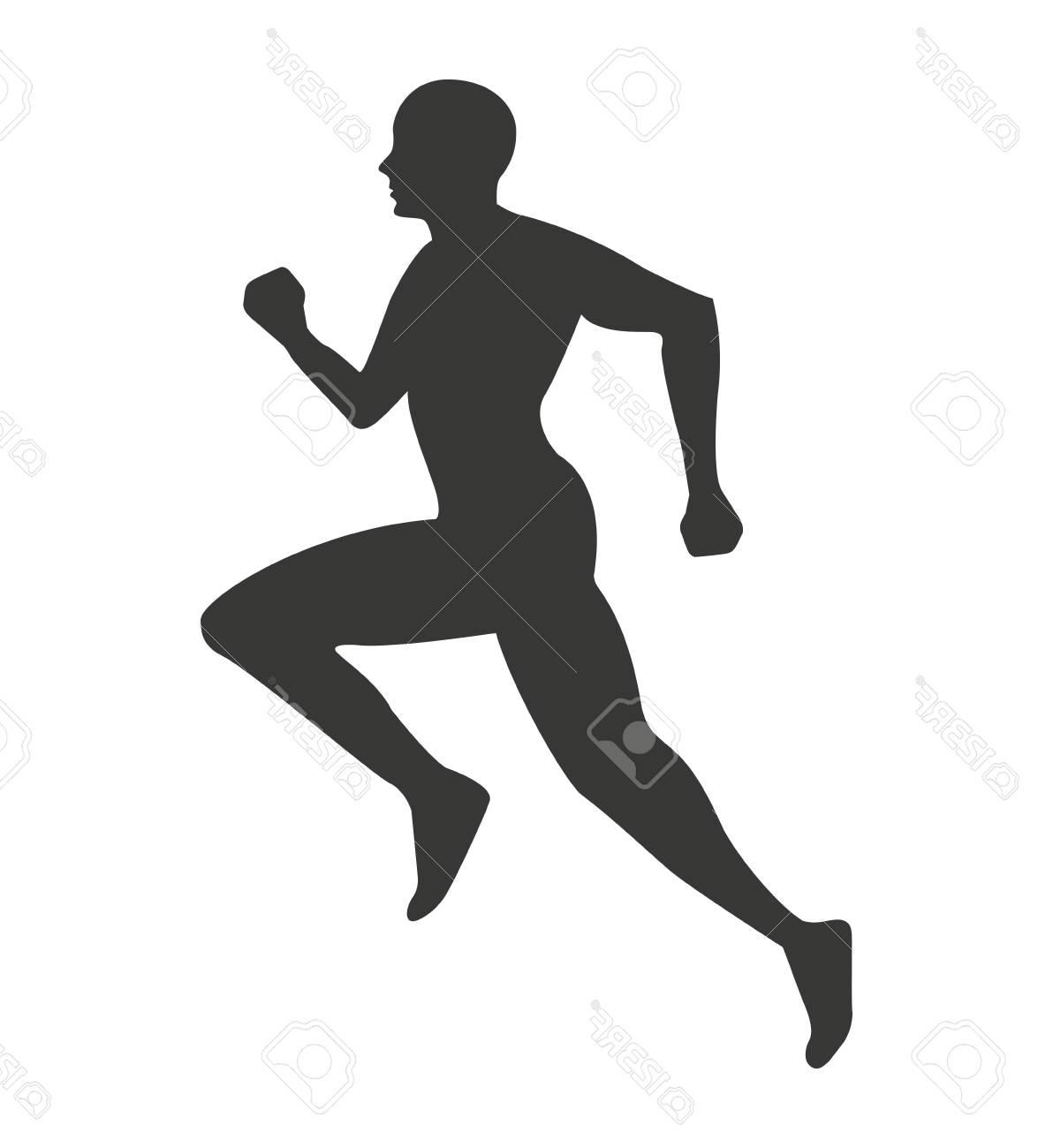 1192x1300 Top Silhouette Athlete Running Isolated Icon Vector Illustration