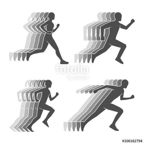 500x500 Black Silhouettes Of Runners And Trail. Symbol For Running Club