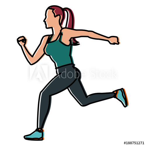 500x500 Fitness Woman Running Icon Vector Illustration Graphic Design