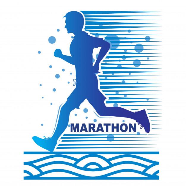 626x632 Man Running Of Marathon Logo, Geometric Running Man Vector