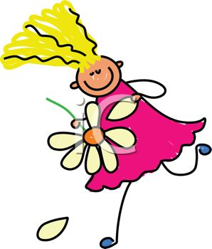 298x350 Picture Of A Stick Figure Girl Running With A Flower In A Vector