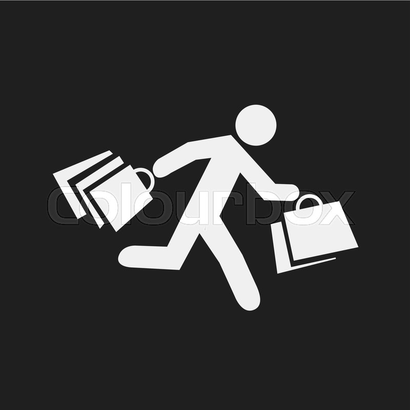 800x800 Stick Figure With Shopping Bags. Symbol Of Running Man With