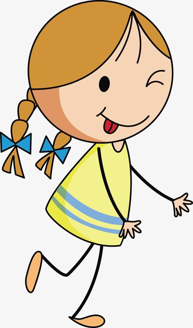 650x1101 The Little Girl Running Vector, Stick Figure, Yellow Dress, Tongue