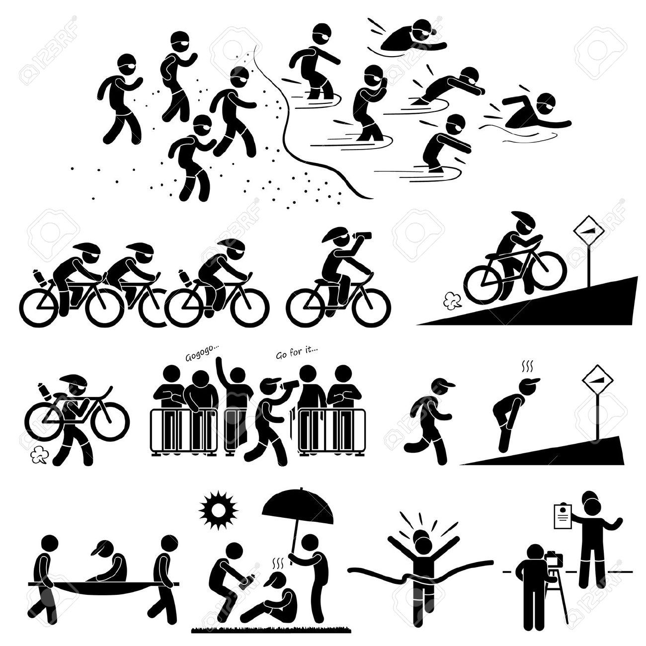 1300x1300 Triathlon Marathon Swimming Cycling Sports Running Stick Figure