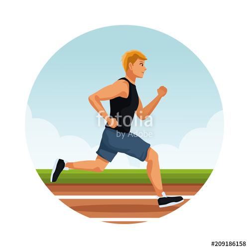 500x500 Fitness Man Running On Running Track Vector Illustration Graphic