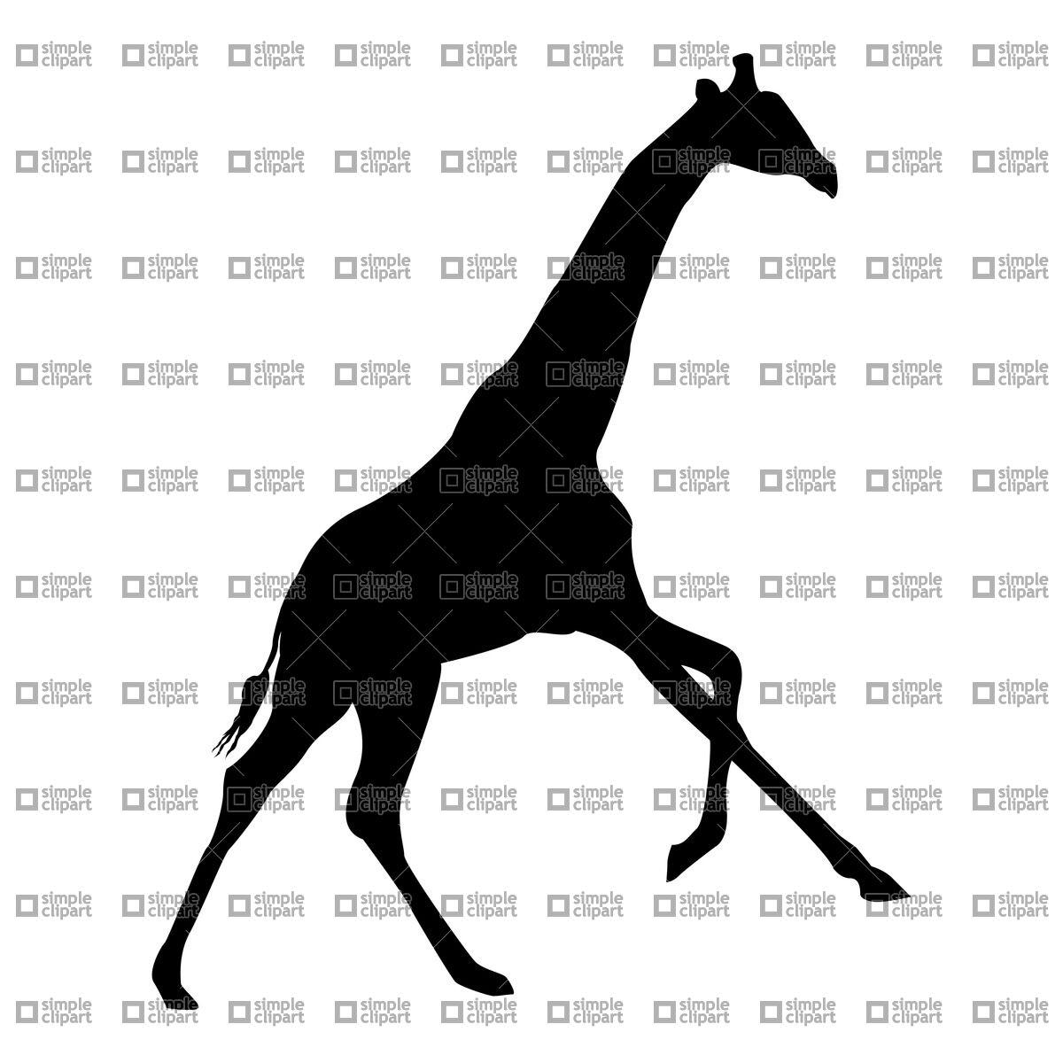 1200x1200 Silhouette Of Running Giraffe Vector Image