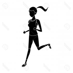 300x300 Photostock Vector Silhouette Sport Girl Run Athletic Fitness