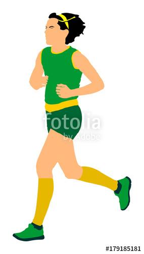 285x500 Woman Marathon Racer Running Vector Illustration. Healthy