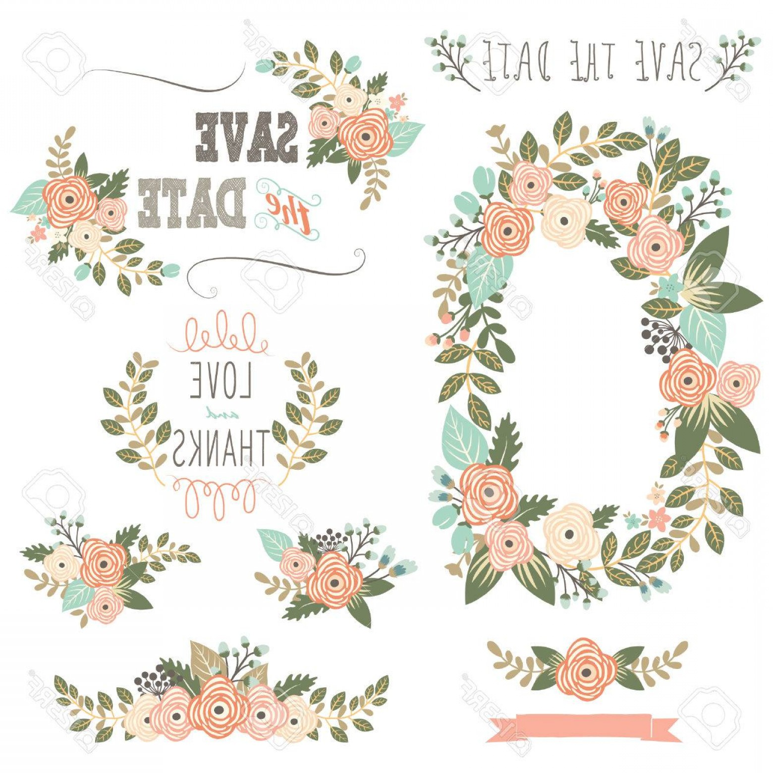 1560x1560 Photostock Vector Vintage Rustic Floral Wreath Rongholland