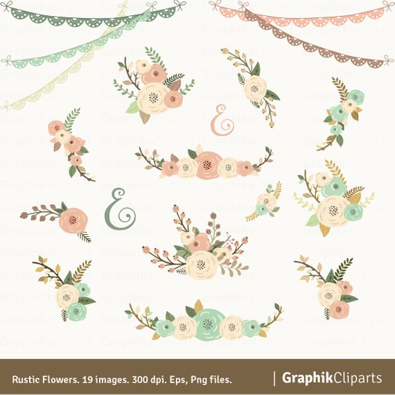570x570 Rustic Flowers Clipart Quote. Floral Clipart. Floral Etsy