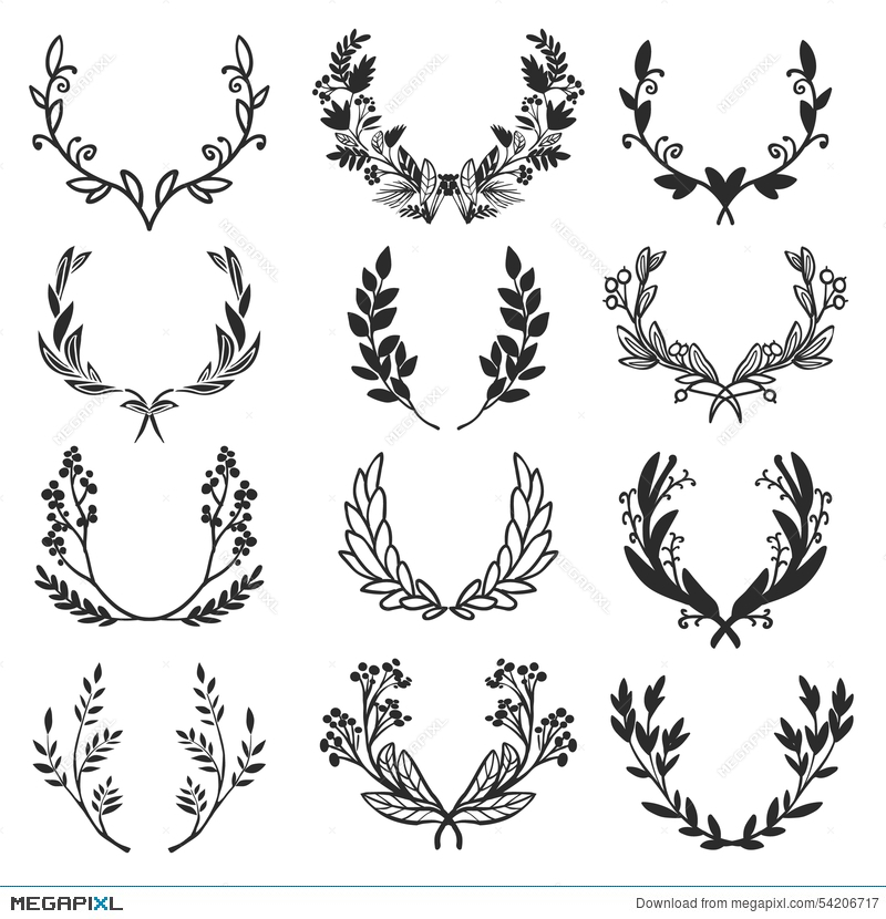800x830 Vintage Set Of Hand Drawn Rustic Laurels. Floral Vector Graphic