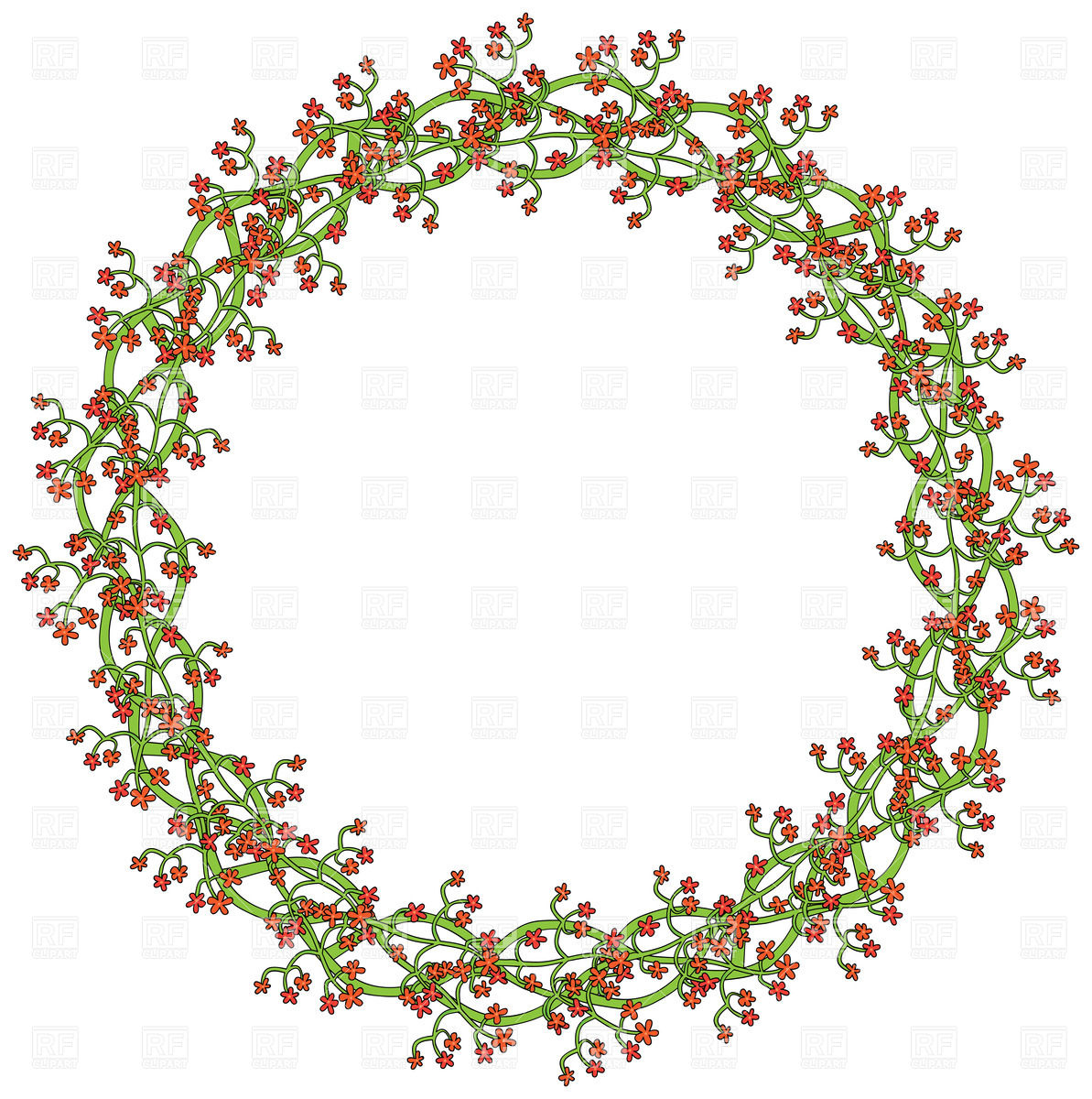 1193x1200 Wreath Made Of Little Red Flowers Vector Image Vector Artwork Of
