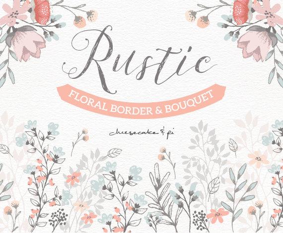 570x470 Floral Border Amp Bouquet Rustic Hand Drawn Floral Clip Art