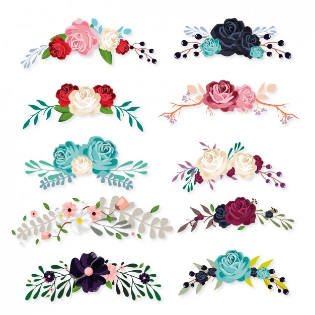 626x626 Floral Ornaments Collection Vector Free Download