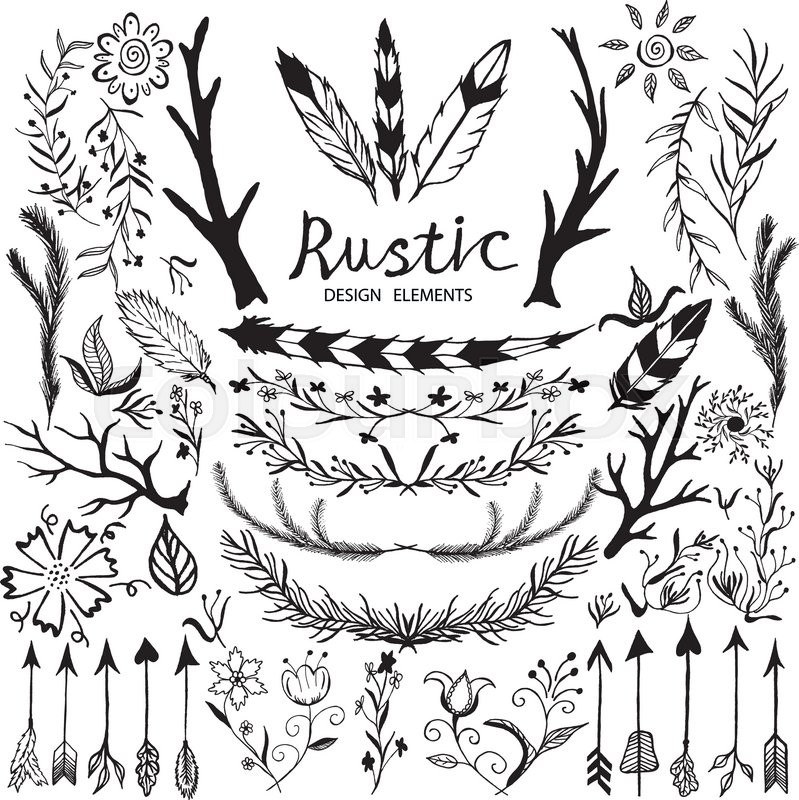 799x800 Hand Drawn Vector Floral Design Elements In Rustic Style. Vintage