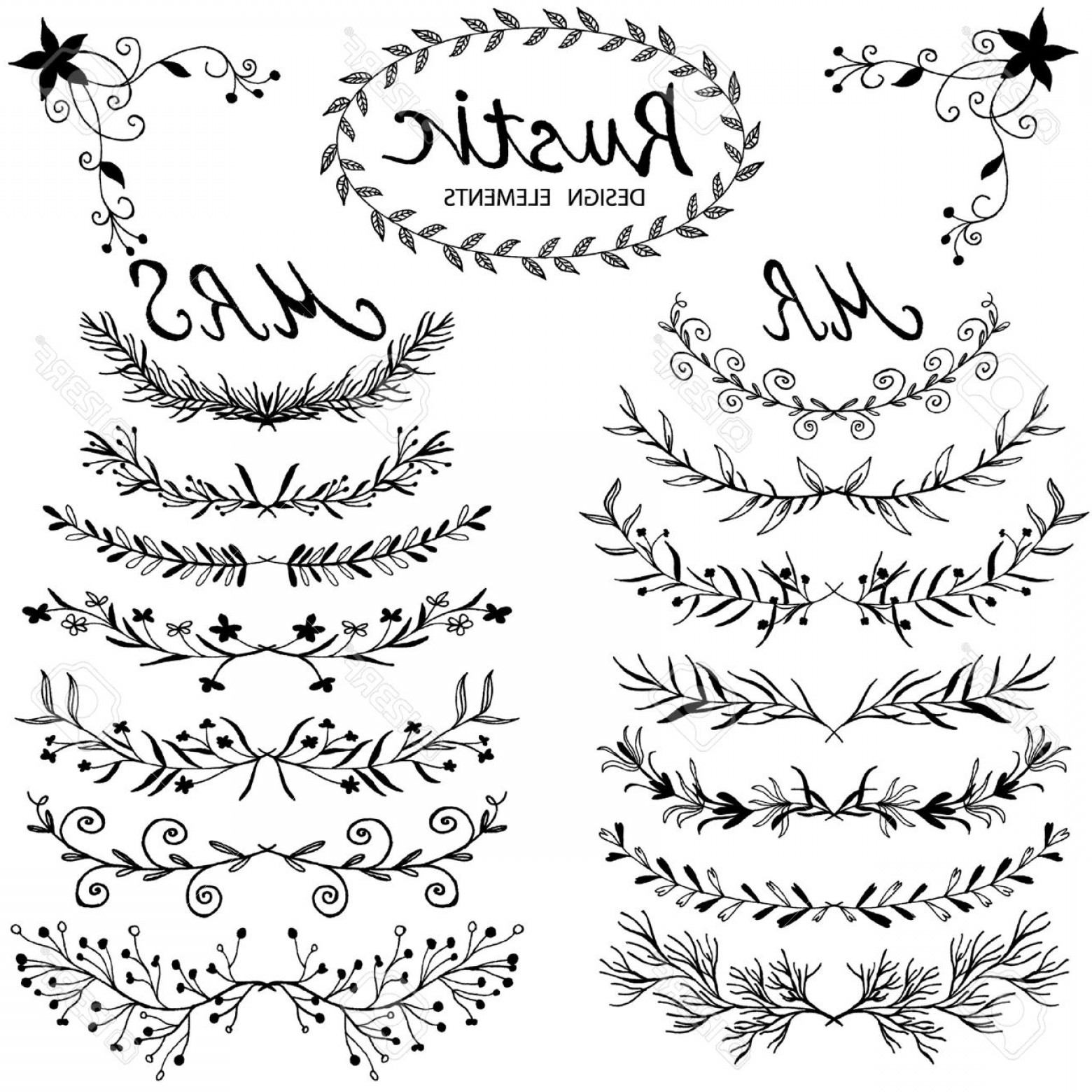 1560x1560 Photostock Vector Hand Drawn Vector Floral Design Elements In