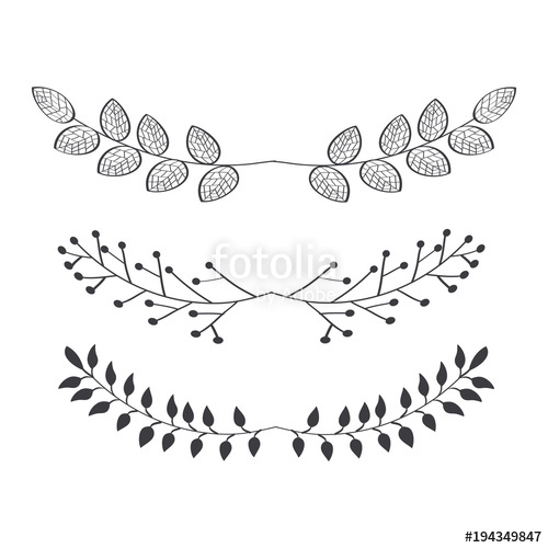 500x500 Rustic Borders With Leaves Set Over White Background Vector