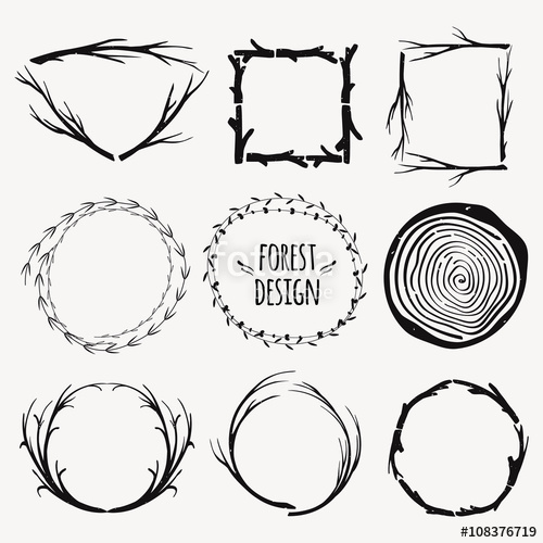 500x500 Vector Decorative Set Of Different Frames With Plants And Tree