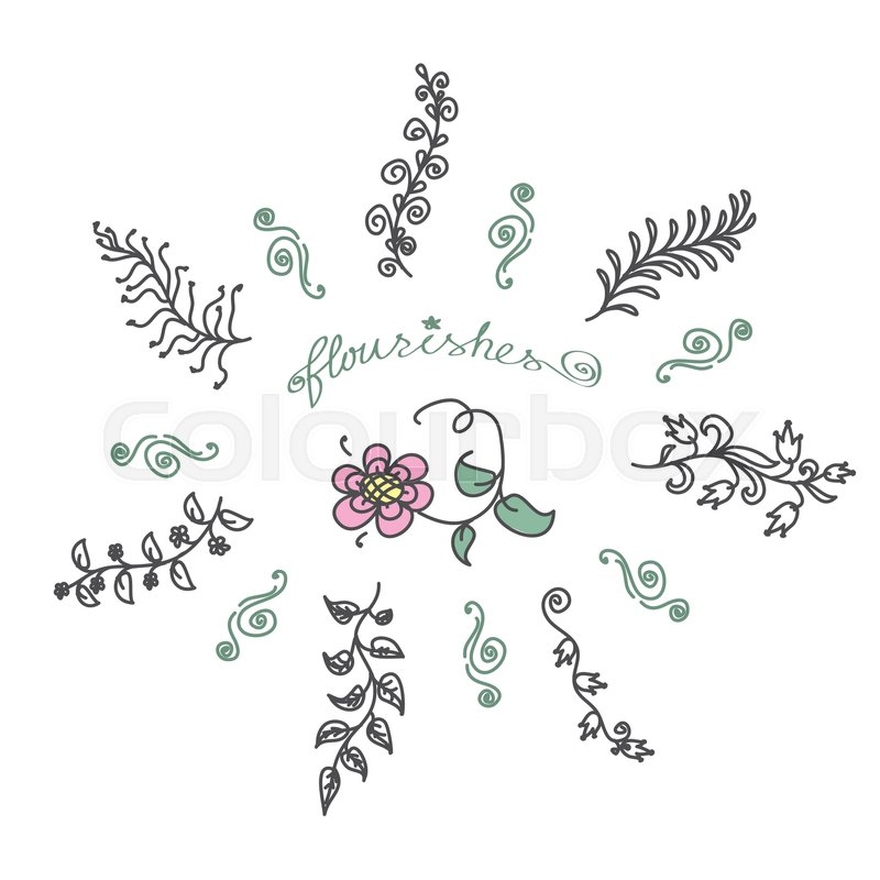 800x800 Vintage Set Of Hand Drawn Rustic Laurels. Floral Vector Graphic