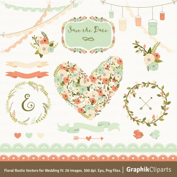 570x570 Floral Rustic Vectors For Wedding 4. Spring Flowers. Floral Etsy