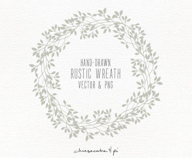 642x530 Floral Wreath Hand Drawn Floral Wreath Clipart Wedding Etsy
