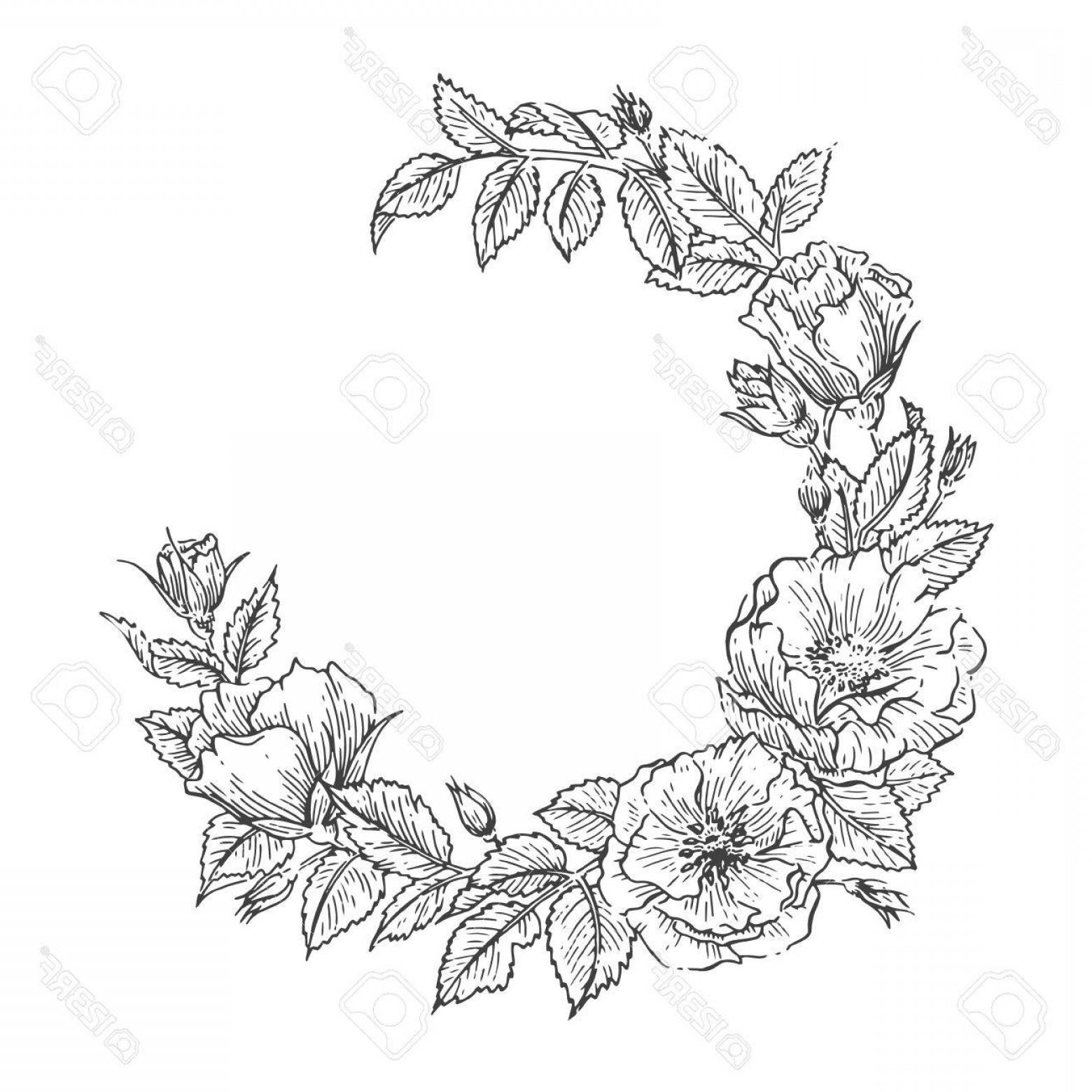 1560x1560 Photostock Vector Hand Drawn Sketch Garden Floweral Wreath Vector