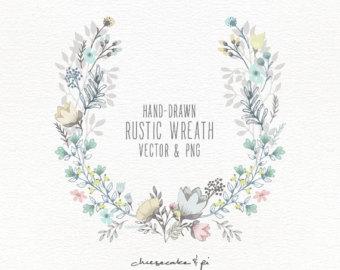 340x270 Rustic Clipart Floral Wreath